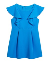 Milly Minis Cady Ruffle Dress Size 8 16 Blue