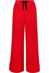 Roland Mouret Betterton Silk Satin Jacquard Wide Leg Pants Red