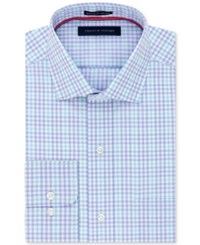 Tommy Hilfiger Men's Classic Fit Non Iron Blue Check Dress Shirt Opal
