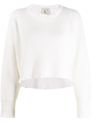 L'autre Chose Cropped Long Sleeve Sweater White