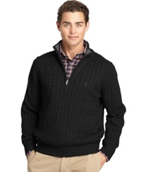 Izod Big And Tall Cable Knit Quarter Zip Sweater Black