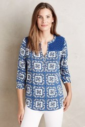 Porridge Michela Smock Top Blue Motif