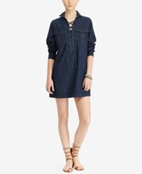 Denim And Supply Ralph Lauren Cotton Lace Up Dress Rinse Wash