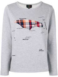 A.P.C. Map Applique Sweatshirt Women Cotton Xs Grey