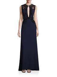 Alberto Makali Embellished Mesh Panel Gown Navy