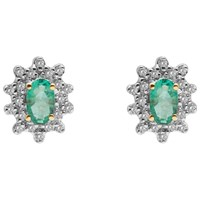 A B Davis 9Ct Gold Oval Precious Stone And Cluster Diamond Stud Earrings Emerald