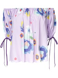G.V.G.V. Printed Off Shoulder Blouse Pink Purple
