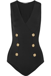 Balmain Button Embellished Stretch Jersey Bodysuit Black