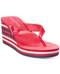 Nautica Landfall Platform Wedge Flip Flop Thong Sandals Women's Shoes