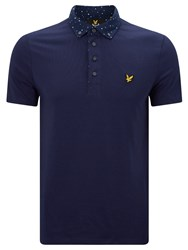 Lyle And Scott Woven Print Collar Polo Shirt Navy