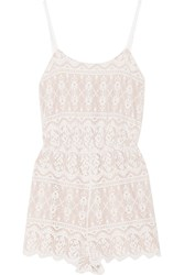 Alice Olivia Cassia Lace Playsuit White