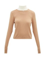 Staud Urchin Contrasting High Neck Cotton Blend Sweater Beige White