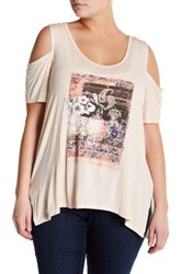 Jessica Simpson Cold Shoulder Graphic Shirt Plus Size Red