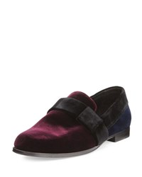 Jimmy Choo John Men's Colorblock Velvet Slip On Shoe Red Navy Black