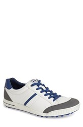 Men's Ecco 'Street' Golf Shoe White Titanium Royal Leather