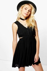 Boohoo Lace Panel Detail Cut Out Skater Dress Black