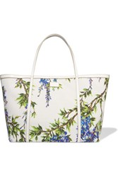 Dolce And Gabbana Printed Leather Trimmed Woven Tote White