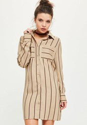 Missguided Camel Stripe Shirt Dress