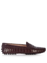 Tod's Gommini Crocodile Effect Leather Loafers Burgundy