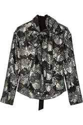 Marc Jacobs Pussy Bow Sequined Chiffon Blouse Gray Green