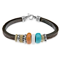 Platadepalo Resin Turquoise Leather And Silver Bracelet White Brown Yellow