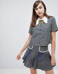 Sister Jane Button Up Shirt With Embellished Ribbon Tie In Check Co Ord Blue