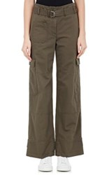 Helmut Lang Women's Cotton Linen Cargo Pants Dark Green