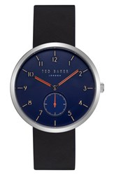 Ted Baker London Josh Leather Strap Watch 42Mm Dark Blue Black