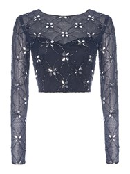 Lace And Beads Long Sleeved Sheer Embellished Crop Top Navy