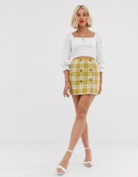 Love Button Front Check Skirt Yellow