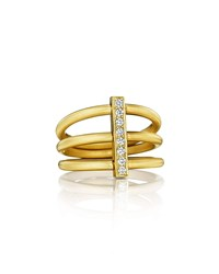 Carelle Moderne 18K Three Row Diamond Bar Ring