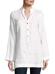 Saks Fifth Avenue Solid Linen Tunic Blouse White