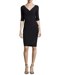 La Petite Robe Di Chiara Boni Florien 3 4 Sleeve Jersey Faux Wrap Dress Black 37