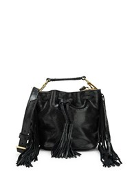 Brian Atwood Pippa Fringed Leather Bucket Bag Black