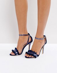 True Decadence Frill Navy Barely There Heeled Sandals
