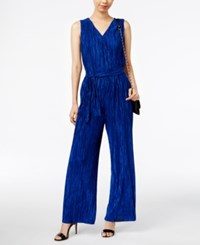 Ny Collection Metallic Crinkled Jumpsuit Surf The Web Blue