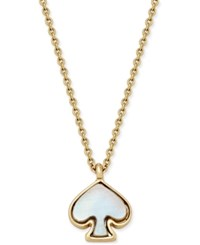 Kate Spade New York Signature Gold Tone Imitation Mother Of Pearl Pendant Necklace Cream Multi
