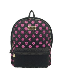Betsey Johnson Tie The Knot Qulited Backpack Black Fuchsia