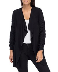 B Collection By Bobeau Delanie Ruched Sleeve Open Front Cardigan Black