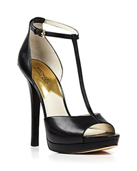 Michael Michael Kors Open Toe T Strap Platform Sandals Bloomingdale's Exclusive Brenna High Heel Black