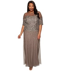 Adrianna Papell Plus Size Long Beaded Illusion Gown W Elbow Sleeve Lead Women's Dress Gray