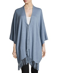 Neiman Marcus Open Front Fringe Cotton Cardigan Denim