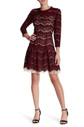 Trixxi Mock Neck 3 4 Length Sleeve Lace Dress Red