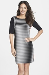 Eliza J Mixed Stripe Ponte Shift Dress Black