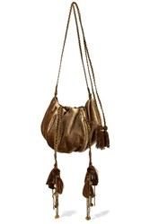 Ulla Johnson Fleur Embellished Embroidered Velvet Shoulder Bag Bronze