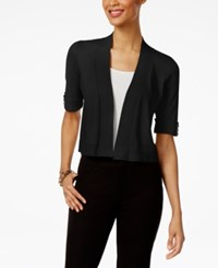Jm Collection Open Front Button Sleeve Cardigan Only At Macy's Deep Black