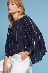 Anthropologie Striped Bell Sleeve Blouse Navy
