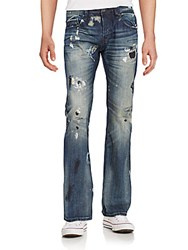 Cult Of Individuality Hagen Distressed Straight Leg Jeans Blue