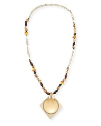 Alexis Bittar Beaded Lucite Pendant Statement Necklace 38 Gold