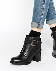 Ravel Zip Front Leather Heeled Ankle Boots Blackleather